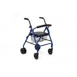 Andador cuatro ruedas con frenos de presión